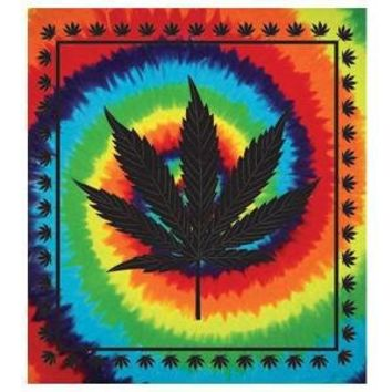 "Wonder Wall ~ Tye Dye Leaf ~ Giant Tapestry Bedspread ~ 90"" x 100"""
