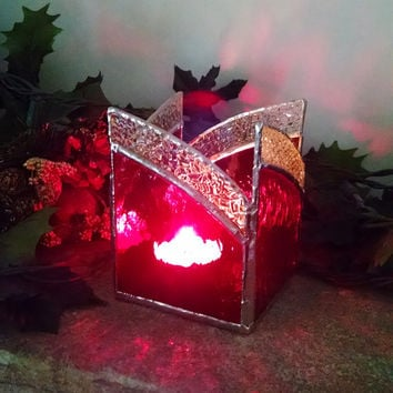 Stained Glass Candle Holder - Red and Clear - Home Decor - Lighting - Christmas Decor - Holiday