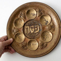Antique Passover Seder Plate, Hebrew Plate, Jewish Holiday, Passover Tray, Vintage Pesach Plate, Judaica, Haggadah Dish