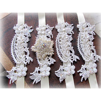 Wedding jewelry, wedding accessory,Set of 4 OOAK Victorian French Couture,bridesmaids bracelet, Bridesmaid jewelry