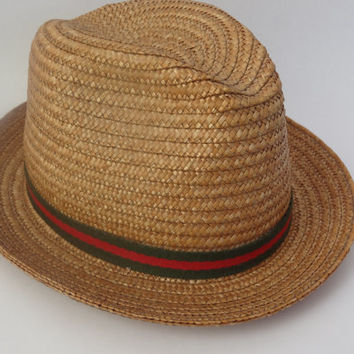 vintage hat 1950s woven fedora beach summer vintage clothing