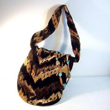 SLOUCHY 1960s BOHEMIAN Carpet Bag Soft TAPESTRY Nappy Shoulder Hippie Handbag