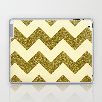 Chevron Gold Laptop & iPad Skin by Alice Gosling