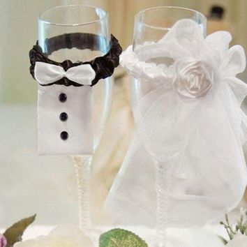 PEAPIX3 Bride Groom Wedding Party Wine Glass Flute Covers Decoration Cup sleeve 2pcs/lot = 1929487108
