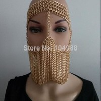 ONETOW FREE SHIPPING NEW STYLE B734 Women Rock Harness Gold colour Chains Layers Face Head Mask Chains 3 Colors B734