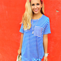 Gone Sailing Blue Stripe Pocket Dress