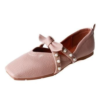 Spring Autumn Woman Flats Butterfly-Knot Cross-Tied Square Toe Solid Slip-On Casual Shoes Pink Apricot Blue