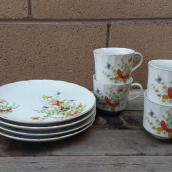 Butterfly Luncheon Set, Tea Cup and Plate Shafford Ecstasy ( 8 pieces)
