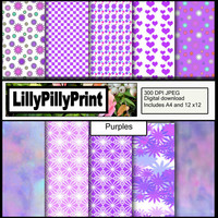 Purple Digital paper, scrapbook paper, Journal page, card making, craft projects, instant download, 10 pack 300 DPI JPEG includes A4 & 12x12