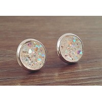 Small Druzy earrings- Rainbow clear drusy silver tone stud druzy earrings