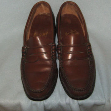 Vintage 1950s Mens Wright Arch Preserver  Brown Leather Penny Loafer Moccasins - Size 8 1/2