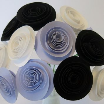 "Black, lilac & white paper flower bouquet purple 1.5"" roses art floral arrangement wedding decor bridal party decoration shower centerpieces"
