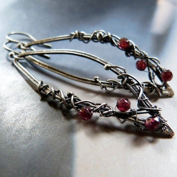 Garnet silver earrings, freeform wire wrapped earrings, OOAK jewelry, long earrings, leaf earrings