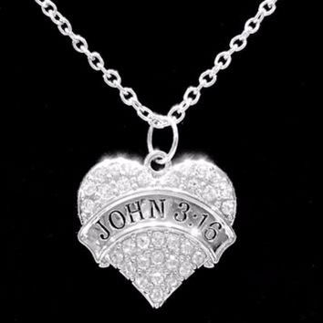 Crystal John 3:16 Heart Bible Scripture Christian Faith Gift Charm Necklace