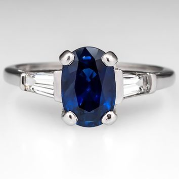 Oval Blue Sapphire Engagement Ring w/ Tapered Baguette Diamonds Platinum