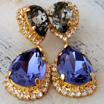Tanzanite purple and grey Chandelier earrings, Bridal earrings Dangle earrings, Drop earrings, Wedding jewelry, Swarovski crystal earrings