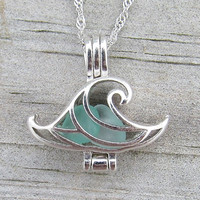 Ride the Wave of Life™ Pale Aqua Sea Glass Sterling Silver Locket Necklace Summer Style Boho Beach Wedding  by Wave of Life™