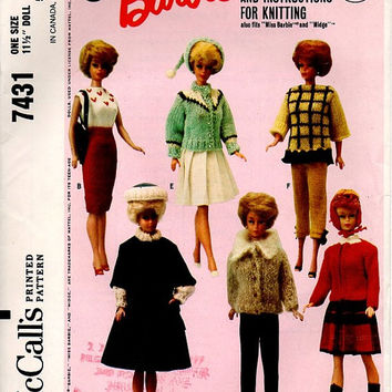 McCall's Barbie Clothes Sewing Pattern Retro 1960s Midge Skipper Mattel Collectible Fashion Coat Hat Skirt Boots Sweater Uncut FF
