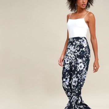 Auckland Navy Blue Floral Print Wide-Leg Pants