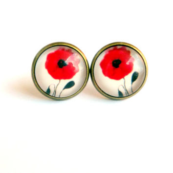 Red Poppy Stud Earrings Poppy Earrings Poppy Flower Flower Jewelry Floral Jewelry