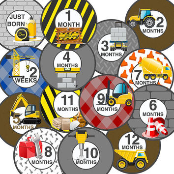 14 Construction Tonka Dump Truck Workers Tools Nails Baby Boy Monthly Milestone Onesuit Stickers Newborn Shower Gift