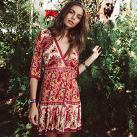 Fashion Retro Floral Totem Print V-Neck Middle Sleeve Beach Boho Mini Dress