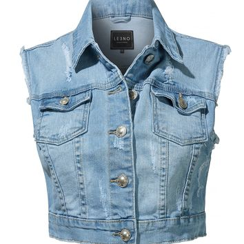 LE3NO Womens Vintage Distressed Ripped Button Up Cropped Denim Vest