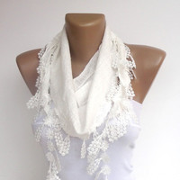 white wedding romantic scarf with  lace , unique NEW women scarf , spring summer fashion accessories , gifts for her
