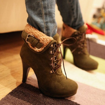 2016 New Winter Women String Fur Ankle Boots Leather Flocking High Heels Red Bottom Shoes zapatos de tac?n alto Botas Femininas Footwear = 1931589956