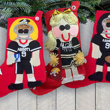 Sports Christmas Stocking - Personalized Christmas Stocking - Cheerleader Christmas Stocking - Team Stocking - Football Player Stocking