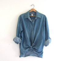 vintage denim jean shirt. oversized button down shirt. womens size XXL