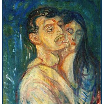 The Lovers by Symbolist Artist Edvard Munch Counted Cross Stitch or Counted Needlepoint Pattern