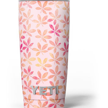 The Pink and Orange Watercolor Clovers Yeti Rambler Skin Kit