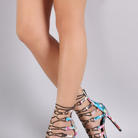 Abstract Paint Print Hardware Accent Strappy Stiletto Heel