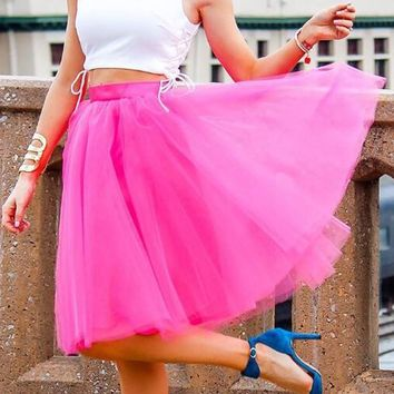 New Rose Carmine Grenadine High Waisted Tulle Tutu Plus Size Homecoming Party Midi Skirt