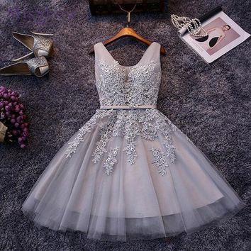New Evening Dresses A Line Lace Appliques Lace Up Back V Neck Short Evening Dress Prom gown Formal Dress