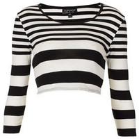 Varigated Long Sleeve Crop Top - Jersey Tops  - Clothing