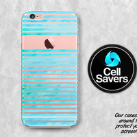 Watercolor Stripes Clear iPhone 6s Case iPhone 6 Case iPhone 6 Plus Case iPhone 6s Plus iPhone 5c Case iPhone 5 Clear Case Blue Paint Cute