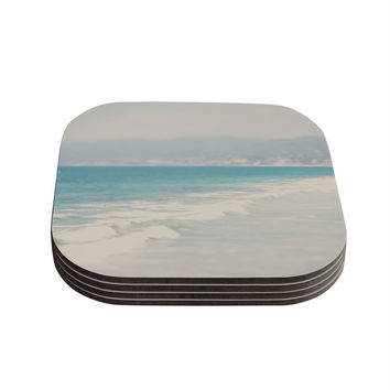 """Laura Evans """"Waves"""" Blue Gray Coasters (Set of 4)"""