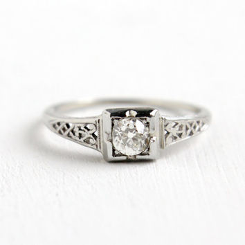 Antique 18k White Gold Art Deco 1/3 Carat Diamond Ring - Size 7 1/2 Vintage Filigree 1920s Fine Engagement Solitaire Old European Jewelry