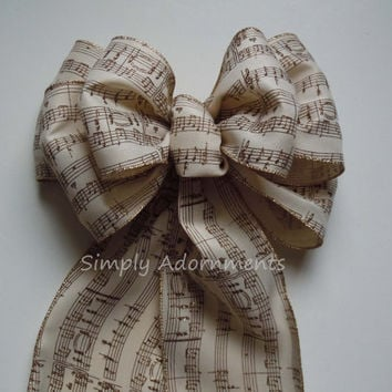 Ivory Gold Burlap Music Themed Wedding Pew Bow Music Themes Graduation Party Decoration Birthday Party Bow Church Aisle Bow Large Gift Bow
