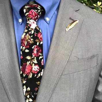 Black Skinny Floral Tie,Boyfriend Gift Men's Gift Anniversary Gift for Men Husband Wedding Gift For Him Groomsmen Gift for Friend Party