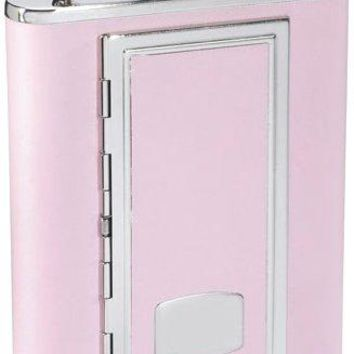 Visol quotSP Pinkquot Leather Stainless Steel Flask with Built In Cigarette Case 6Ounce Pink