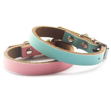 Simple Blue Pink Leather Cat Collar