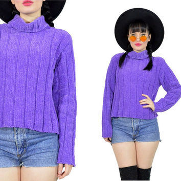 vintage 80s pastel sweater purple sweatshirt kawaii pastel grunge knit cropped 90s lilac chunky turtleneck sweatshirt ribbed oversized