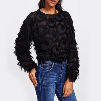 Black Fringe Patch Mesh Blouse