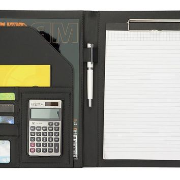 Meeting Conference PU Leather Folder, Office business Document Folders. A4 File Folder with 12-digital Calculator Black Brown