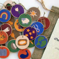 Jesse Tree Ornament Set with Old and New Testament Scripture for each symbol