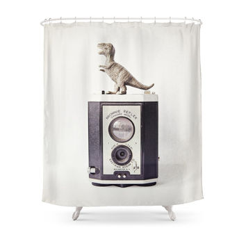 Society6 The Dinosaur And The Brownie Shower Curtains