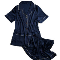 short pants + short sleeve tops pajamas sets silk satin nightwear pink blue white color pyjamas women summer sleepwear 2pcs/set